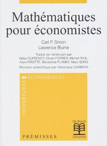 Mathematiques Pour Economistes