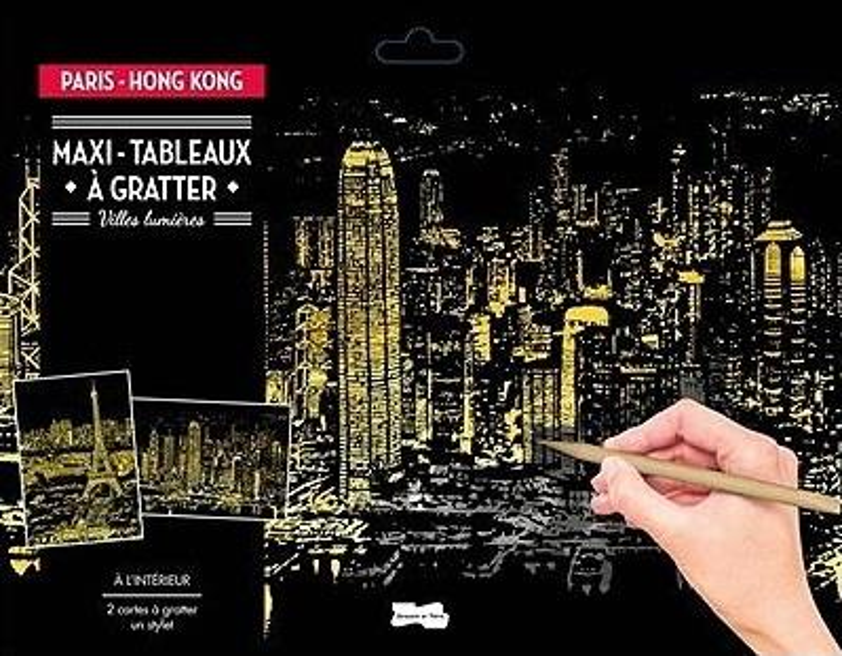 Maxi-tableaux à gratter paris-hong kong ; villes lumières