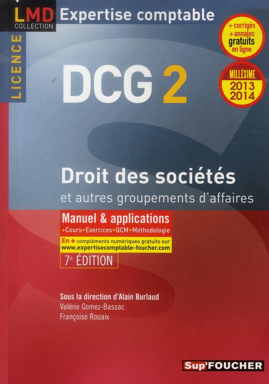 Dcg 2 ; Droit Des Societes Et Autres Groupements Des Affaires ; Manuel Et Applications (Edition 2013/2014)