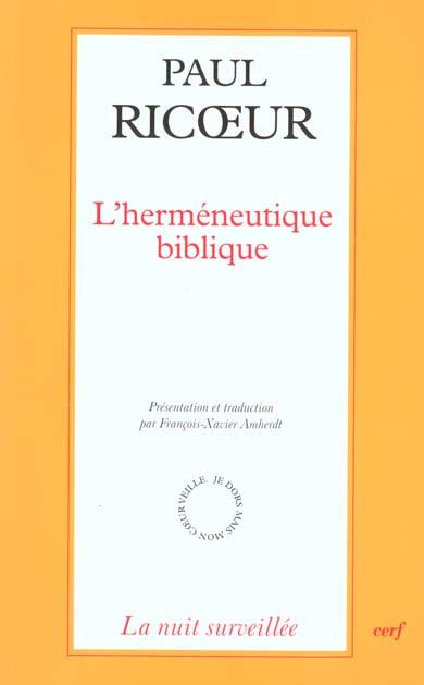 L'HERMENEUTIQUE BIBLIQUE