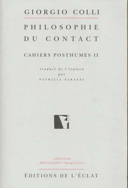 PHILOSOPHIE DU CONTACT