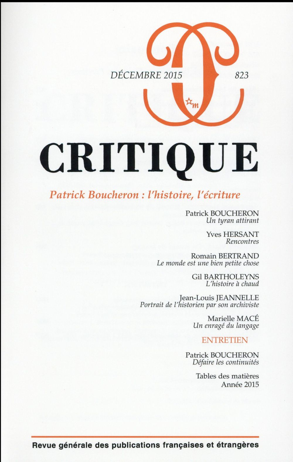 CRITIQUE 823 : PATRICK BOUCHERON