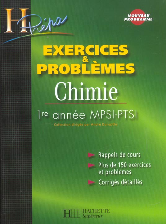 Chimie - 1re Annee Mpsi/Ptsi - Exercices Et Problemes