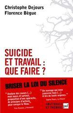 Couverture de Suicide et travail : que faire ?