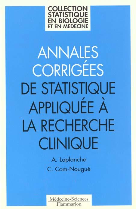 Annales Corrigees De Statistiques Appliquees A La Recherche