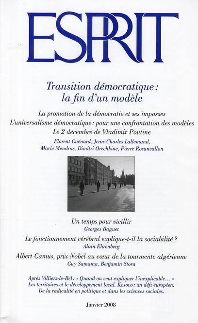 Revue Esprit; Transition Democratique : La Fin D'Un Modele