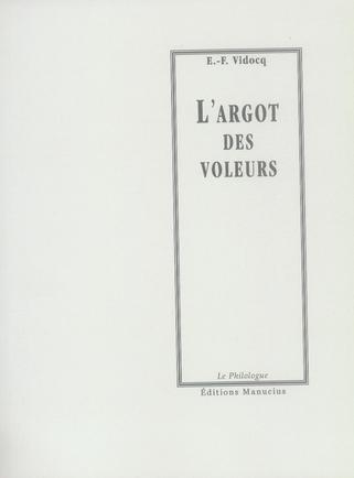 L'ARGOT DES VOLEURS