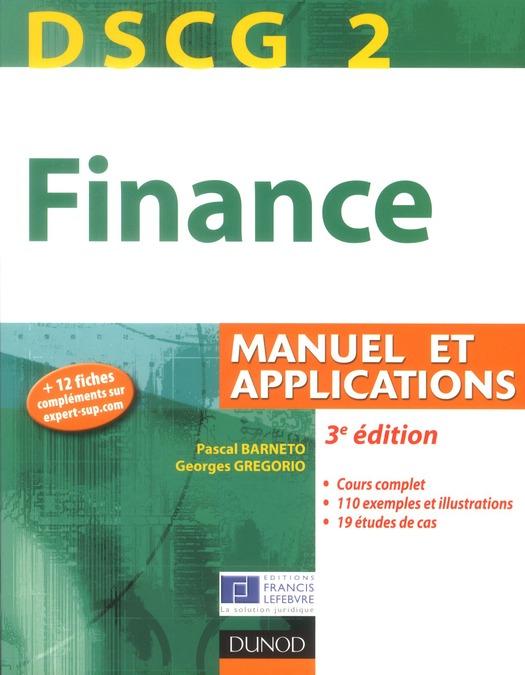 Dscg 2 ; Finance ; Manuel Et Applications (3e Edition)