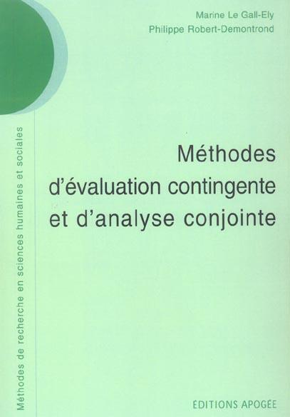 Methodes D'Evaluation Contingente Et D'Analyse Conjointe