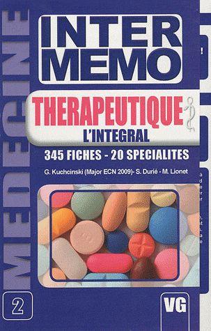 Inter Memo T.2 ; Therapeutique ; 345 Fiches, 20 Especialites