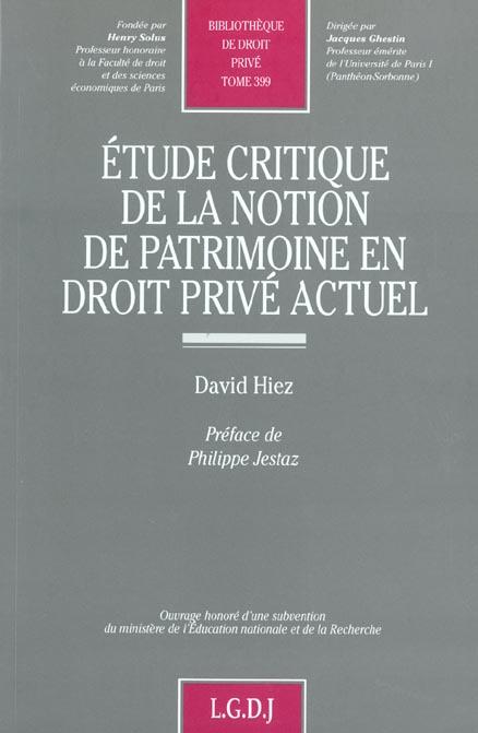 Etude Critique De La Notion De Patrimoine