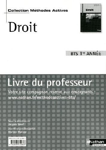 Droit Bts 1ere Annee  (Methodes Actives) Professeur  -  2009