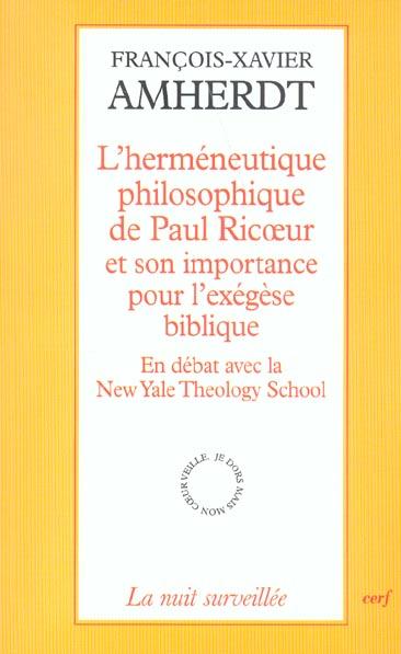 L'HERMENEUTIQUE PHILOSOPHIQUE DE PAUL RICOEUR