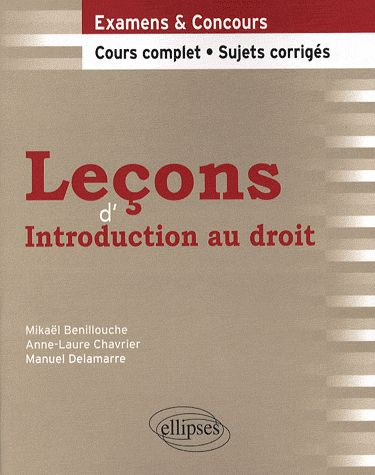 Lecons D'Introduction Au Droit Cours Complet & Sujets Corriges Examens & Concours